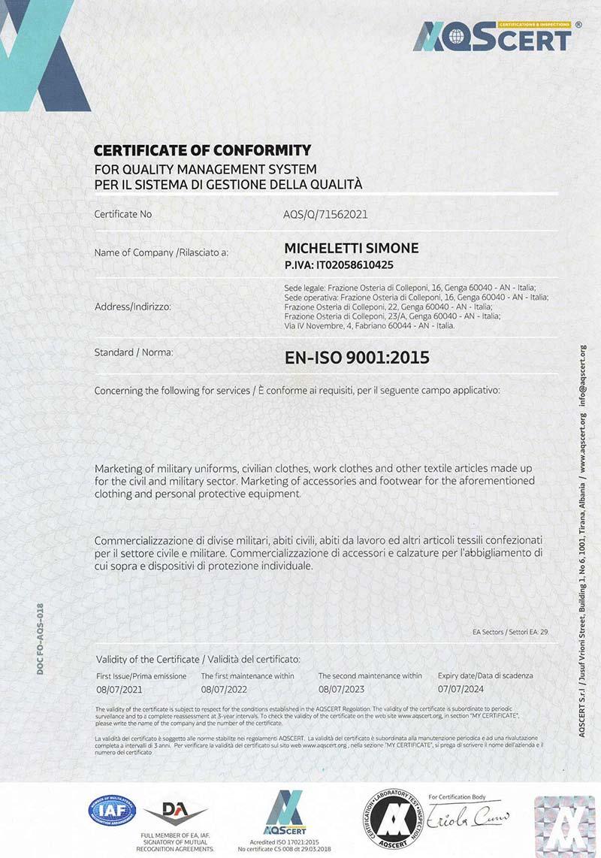 MICHELETTI ISO 9001 2015